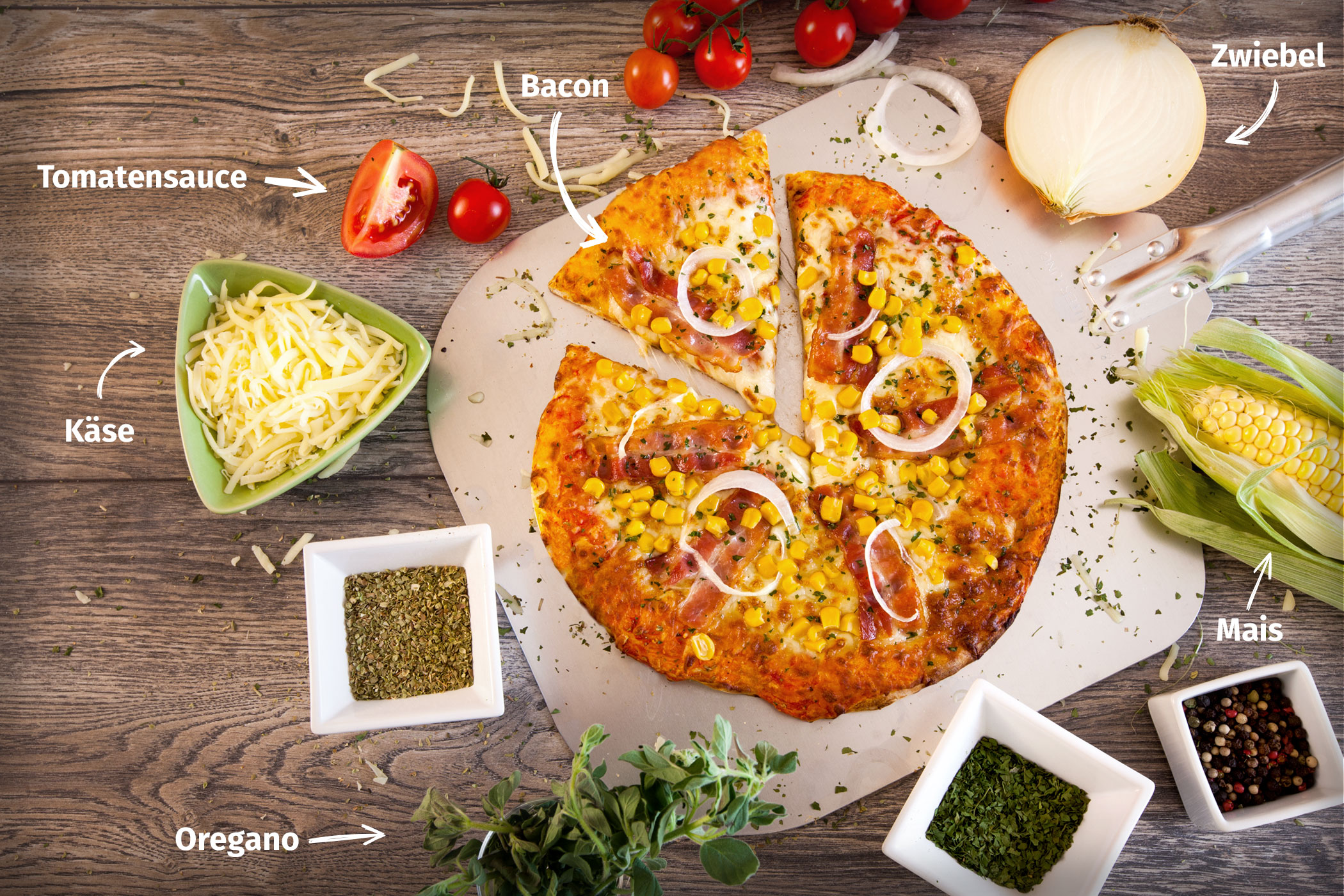 Original Franzesco Pizza Bauern mit Zutaten