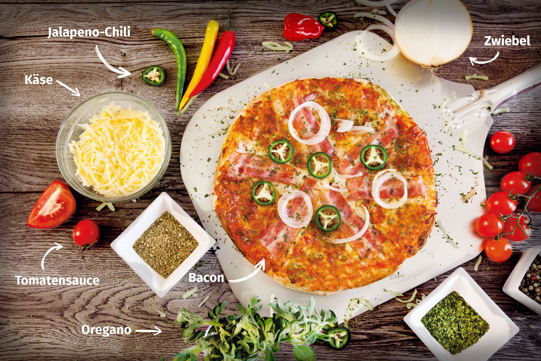 Original Franzesco Pizza Chili mit Zutaten