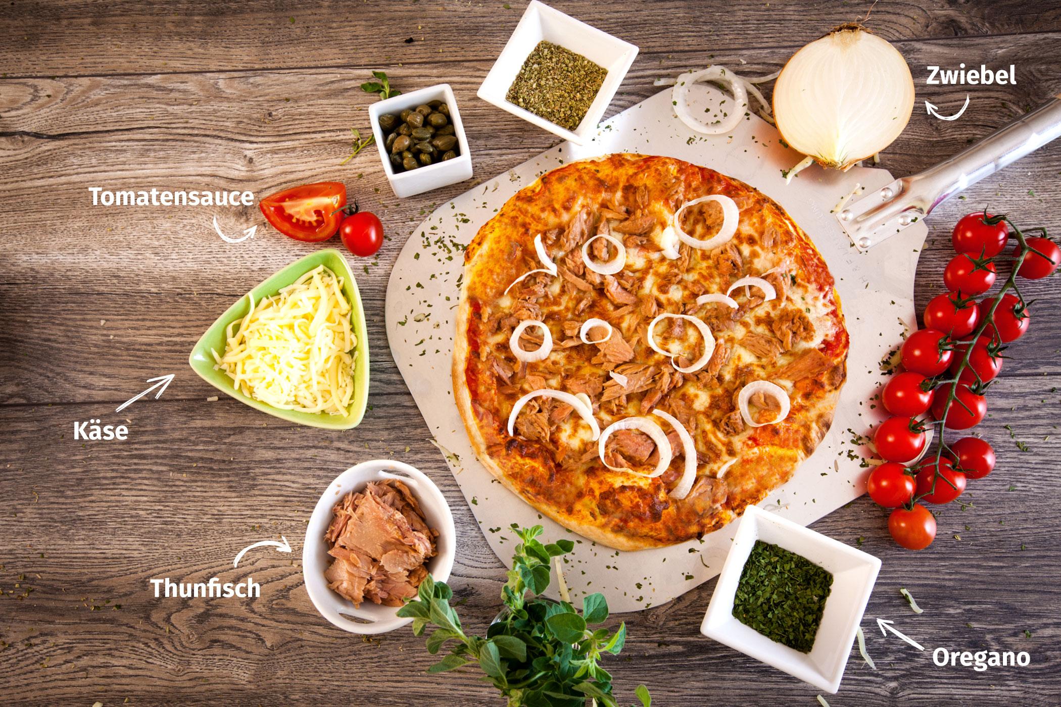 Original Franzesco Pizza Tonno mit Zutaten