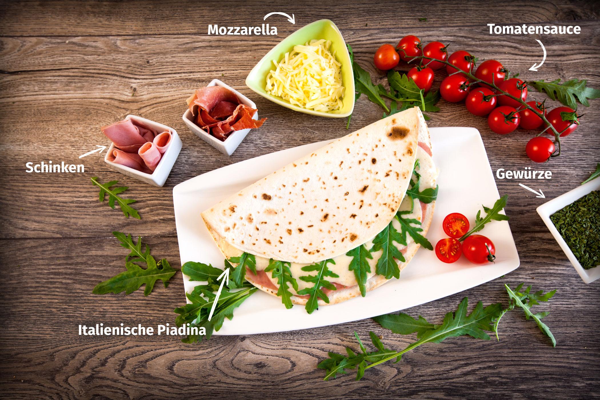 Original Franzesco Piadina Prosciutto gefüllt mit Tomatensauce, Mozzarella und Schinken