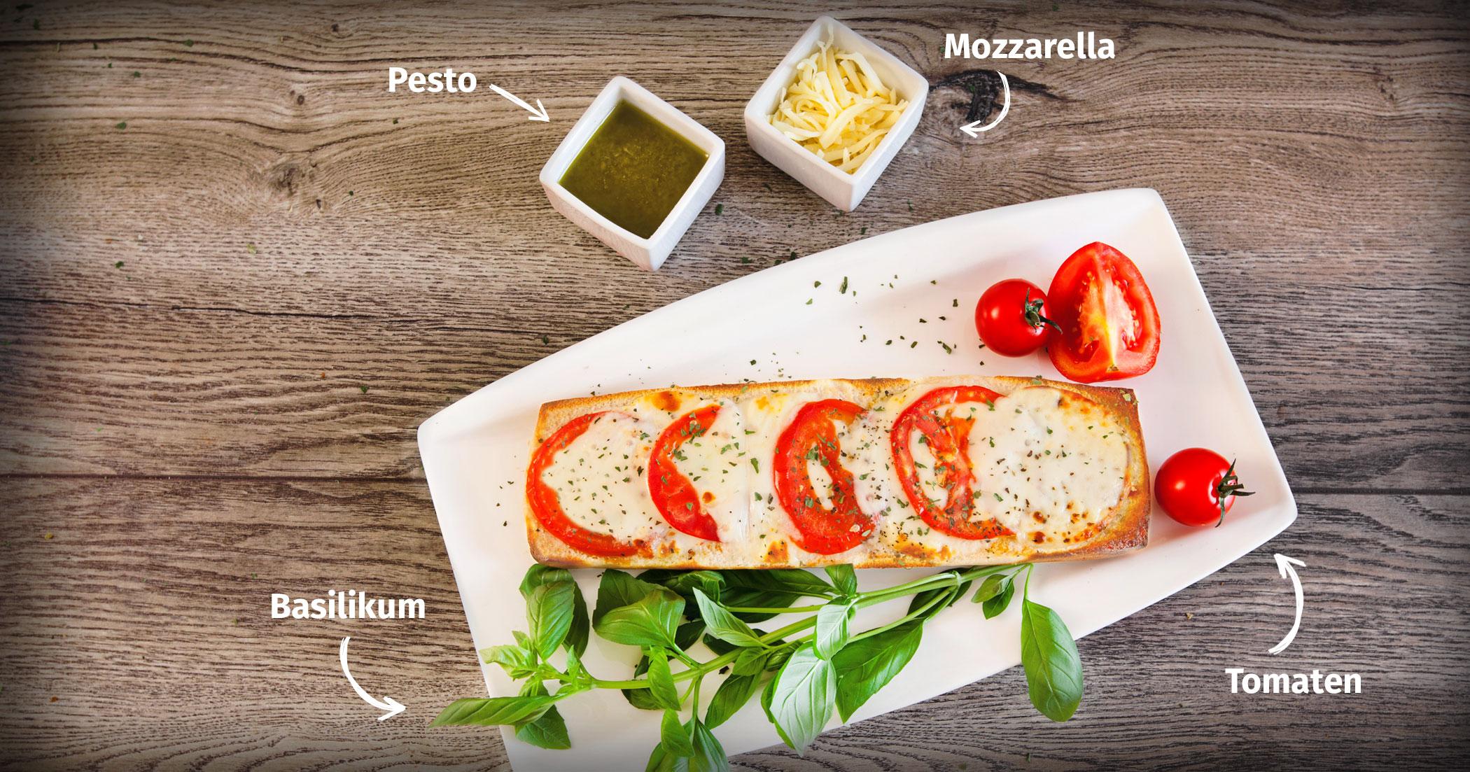 Original Franzesco Baguette Tomaten-Mozzarella mit Zutaten
